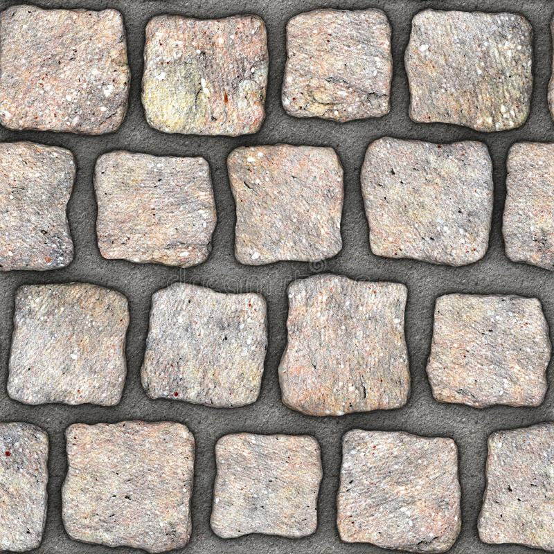 S156 Seamless texture - cobblestone pavers. Cobblestone natural stone pavers insert in concrete. Seamless tileable repeating square 3D rendering texture royalty free illustration
