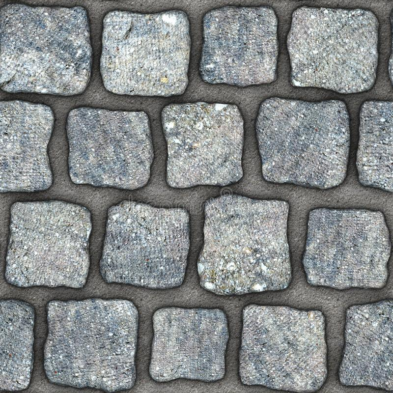 S157 Seamless texture - cobblestone pavers. Cobblestone natural stone pavers insert in concrete. Seamless tileable repeating square 3D rendering texture stock illustration