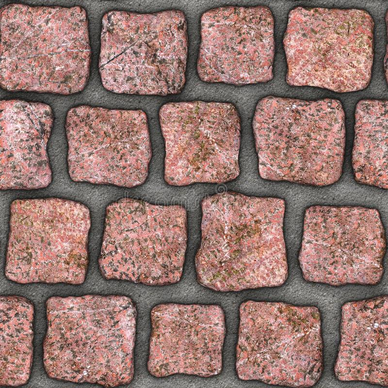 S158 Seamless texture - cobblestone pavers. Cobblestone natural stone pavers insert in concrete. Seamless tileable repeating square 3D rendering texture vector illustration