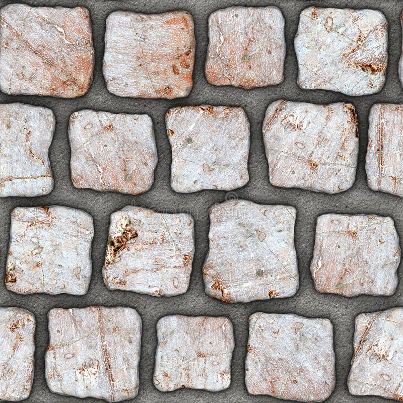 S160 Seamless texture - cobblestone pavers. Cobblestone natural stone pavers insert in concrete. Seamless tileable repeating square 3D rendering texture vector illustration
