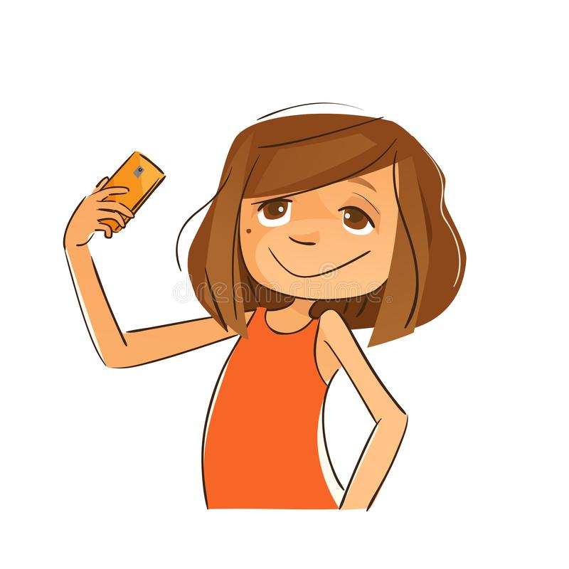 It`s Selfie Time. Young girl taking a selfie stock illustration
