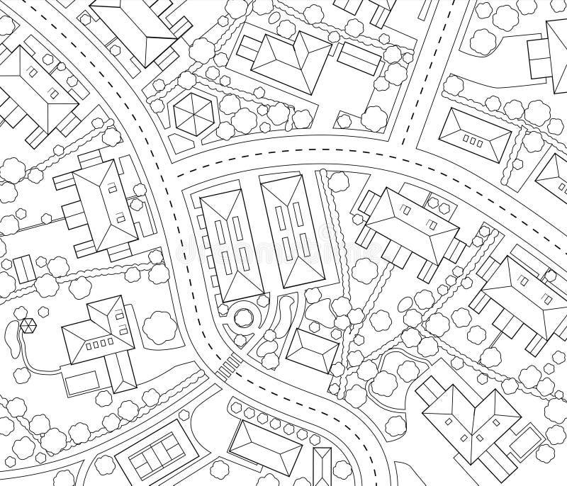 Download Sąsiedztwo kontur ilustracja wektor. Ilustracja złożonej z droga - 15952155
