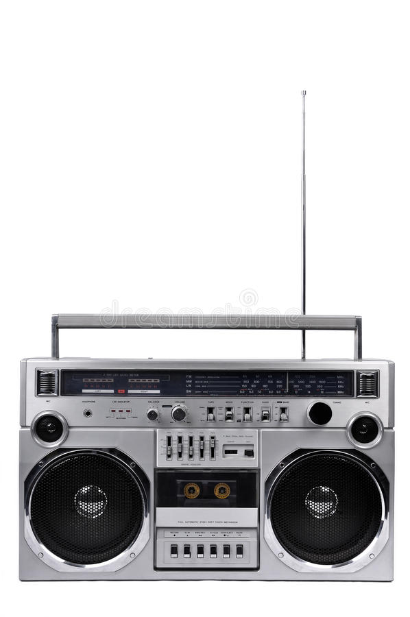 1980s Silver ghetto radio boom box with antenna up isolated on w. 1980s Silver retro radio boom box with antenna up isolated on white background stock image