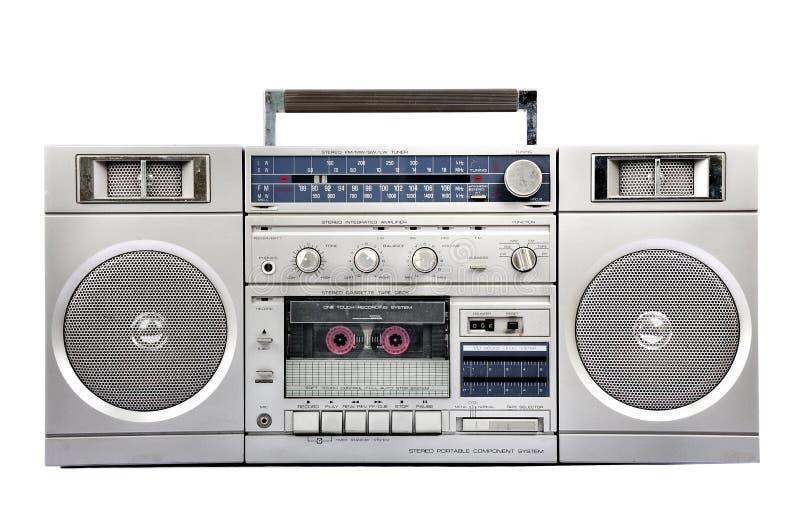 1980s Silver radio boom box isolated on white. front. 1980s Silver radio boom box with cassette isolated on white background stock photos
