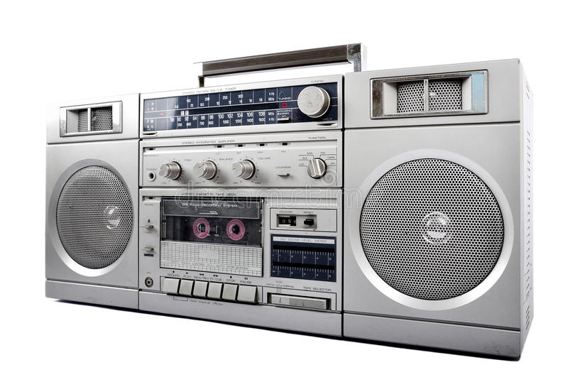 1980s Silver retro, boom box and headphone isolated on white. right side. 1980s Silver retro, boom box and headphone isolated on white background royalty free stock images