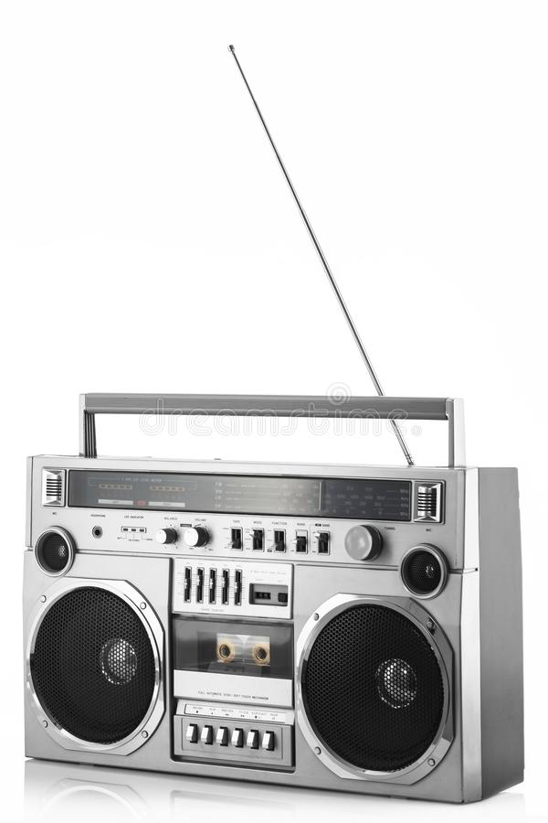 1980s Silver retro radio boom box with antenna up isolated on white background.  stock photography