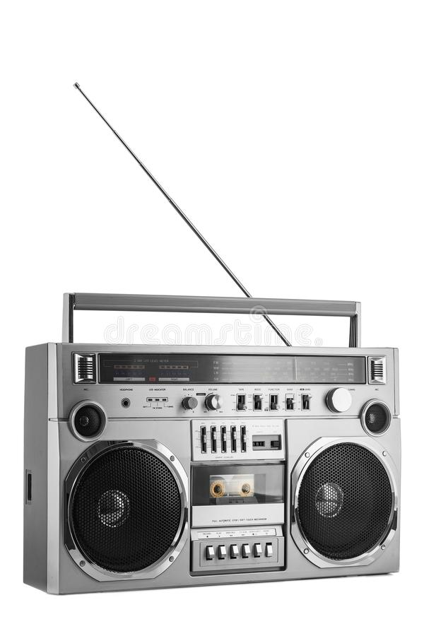1980s Silver retro radio boom box with antenna up isolated on white background.  stock image