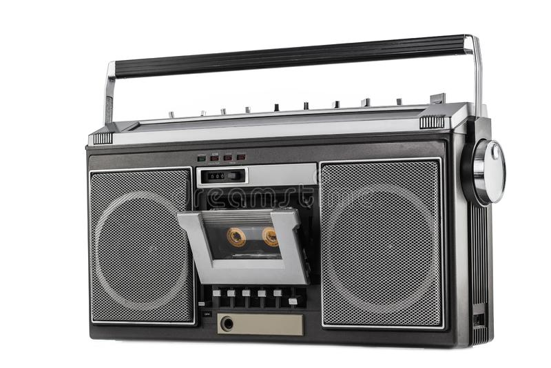 1980s Silver retro radio boom box isolated on white background.  royalty free stock photo