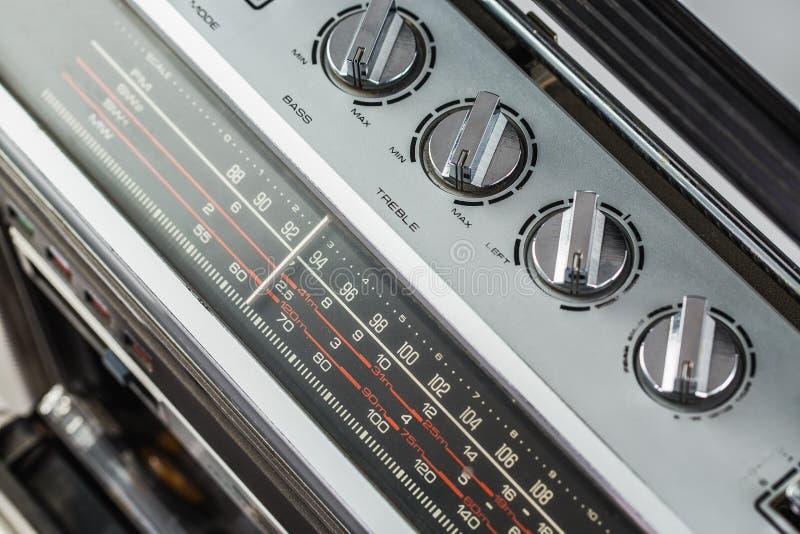 1980s Silver retro radio boom box on white background.  stock photos