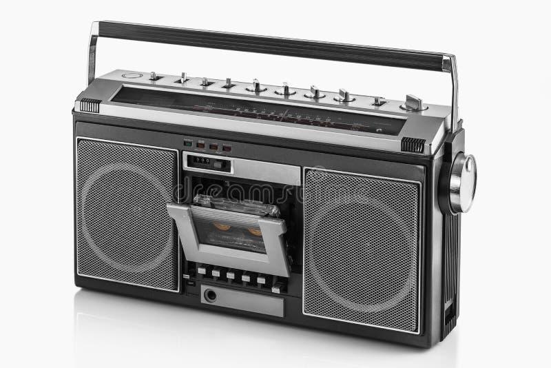 1980s Silver retro radio boom box on white background.  royalty free stock photo