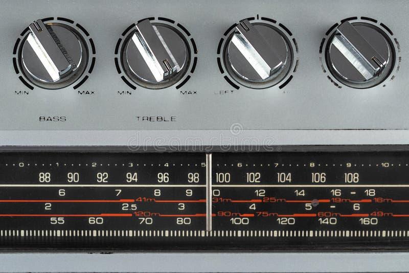 1980s Silver retro radio boom box on white background.  stock image