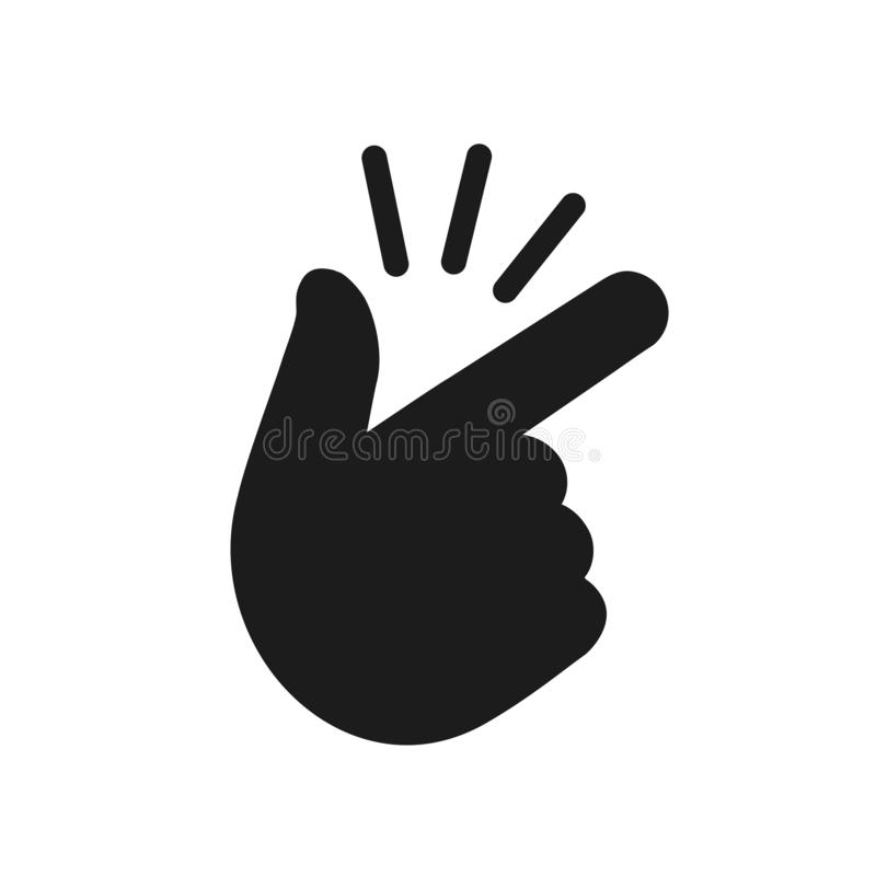 It's simple - finger snap icon in flat style. Easy icon. Finger snapping click flick hand gesture - vector for stock. It's simple - finger snap stock illustration