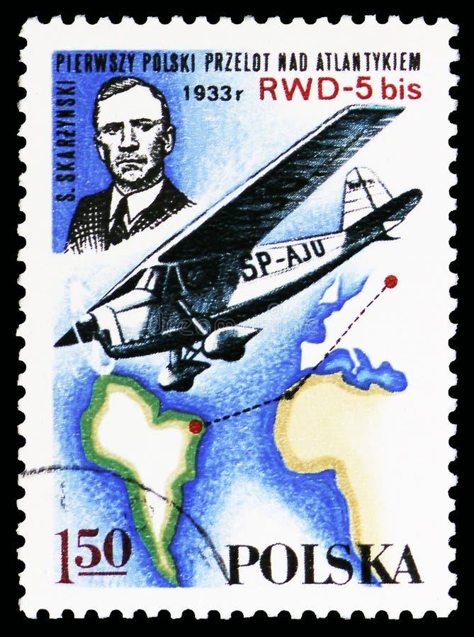 S Skarzynski, bis RWD-5 над южным Атлантика, 1933, польское serie самолетов спорта, около 1978 стоковая фотография