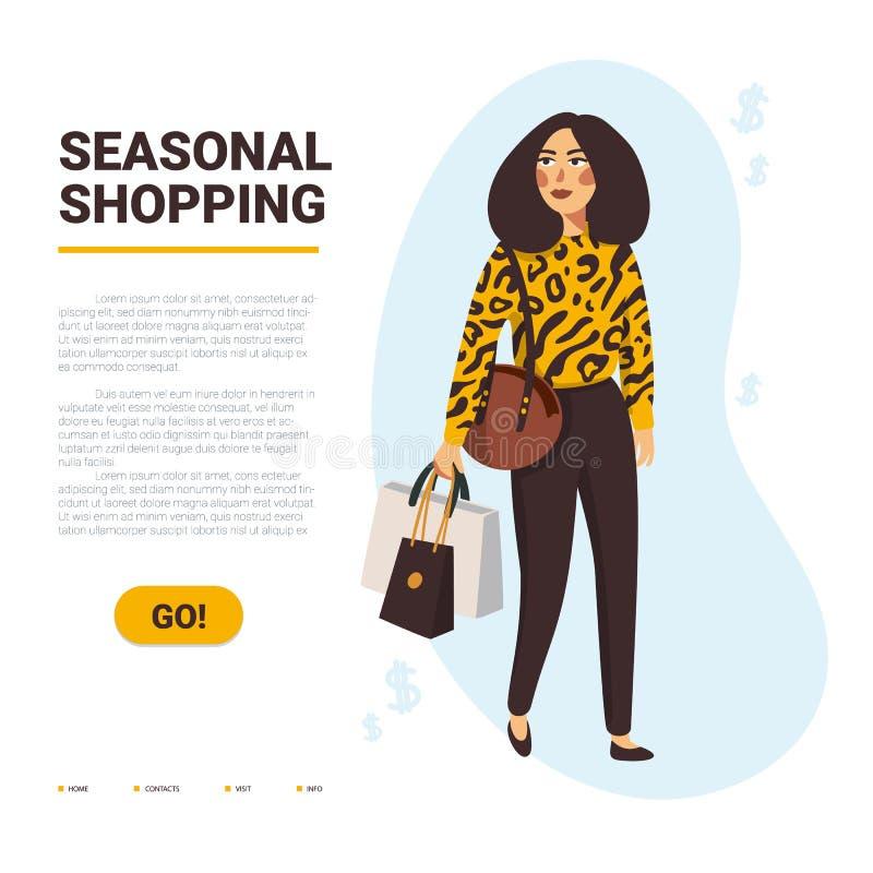 S?songsbetonat shoppingbegrepp Stilfulla kvinnor som bär shoppingpåsar med köp Baner- eller webbsidamall Plan vektor royaltyfri illustrationer