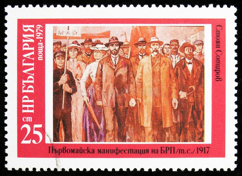 S. Sotirov, `May Day Manifestation of BWP, 1917`, History of Bulgaria - Paintings serie, circa 1979. MOSCOW, RUSSIA - AUGUST 6, 2019: Postage stamp printed in stock photos