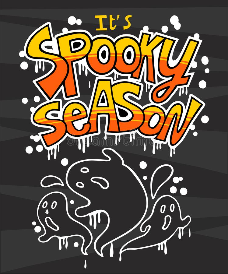 It s spooky season. Halloween overlays, lettering labels design. Hand drawn isolated emblem with quote. Halloween party sign, logo. scrap booking, posters vector illustration
