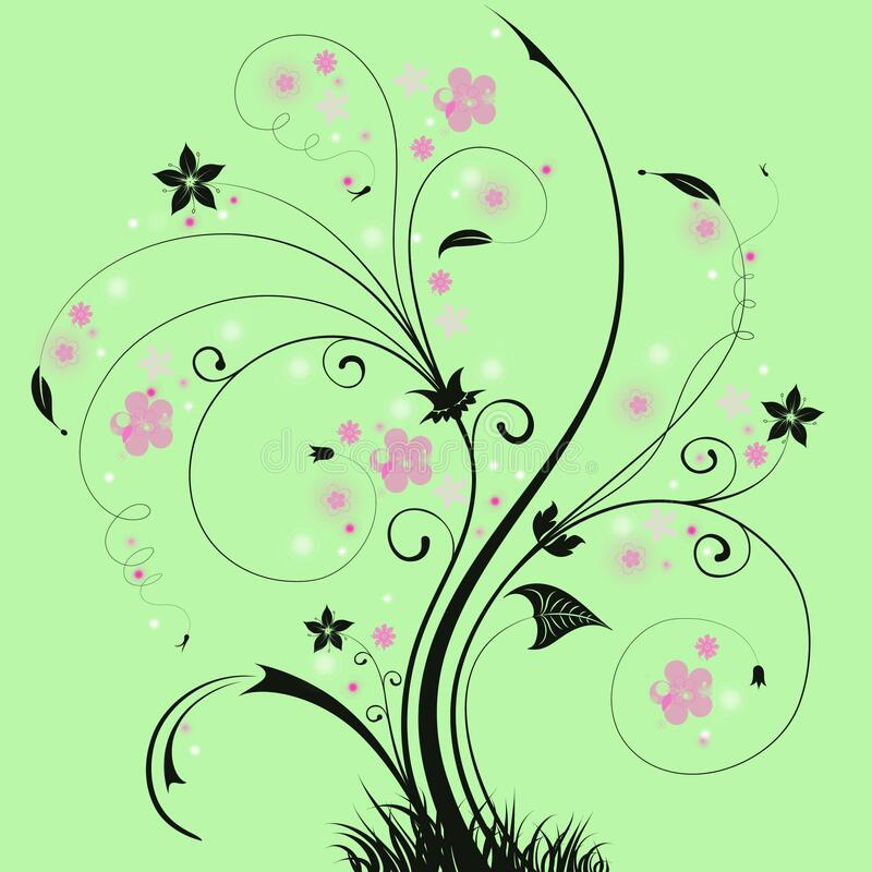 It`s spring time! Black tree with pink flowers. stock illustration