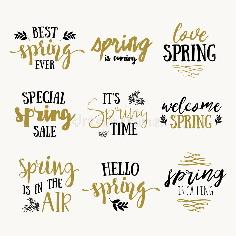 It`s spring time lettering greeting cards set. Vector Special spring sale typography poster in gold black and white colors. It`s spring time lettering greeting stock illustration