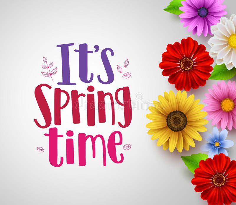 It`s spring time text in empty white background vector template royalty free illustration