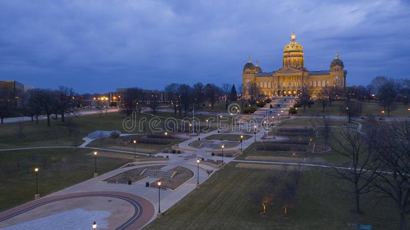 Night Falls as Storm Brews at the Iowa State Capital Building stock images