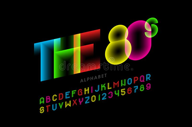 The 80s style font. Design, colorful alphabet letters and numbers royalty free illustration