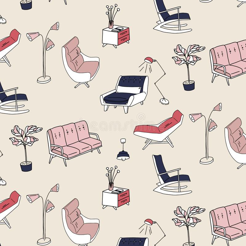 60s style furniture interior pattern. Cute pastel pink navy decoration. Retro sofa, armchair, nightstand and lam. P decoration. Stylish house furniture royalty free illustration