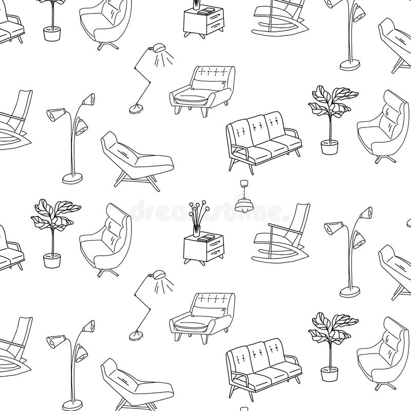 60s style furniture interior sketch pattern. Cute decoration surface vector. Retro sofa, armchair, nightstand and lam. P decoration. Stylish house furniture royalty free illustration