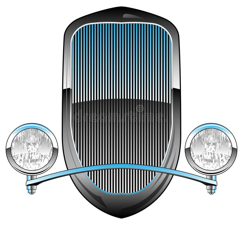 1930s Style Hot Rod Car Grill with Headlights and Chrome Trim Vector Illustration stock illustration