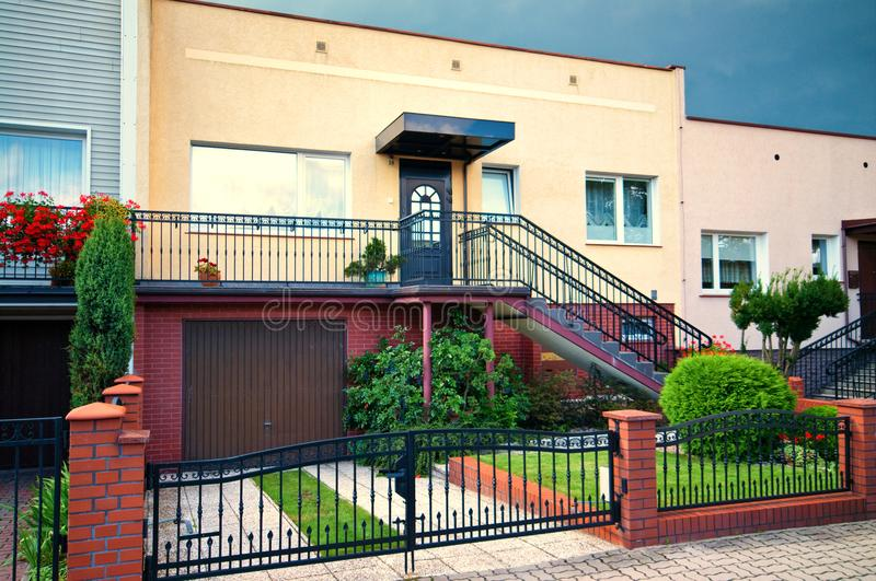 1980s style Polish architecture. Front view of a house with 1980s style architecture in Poland royalty free stock photography