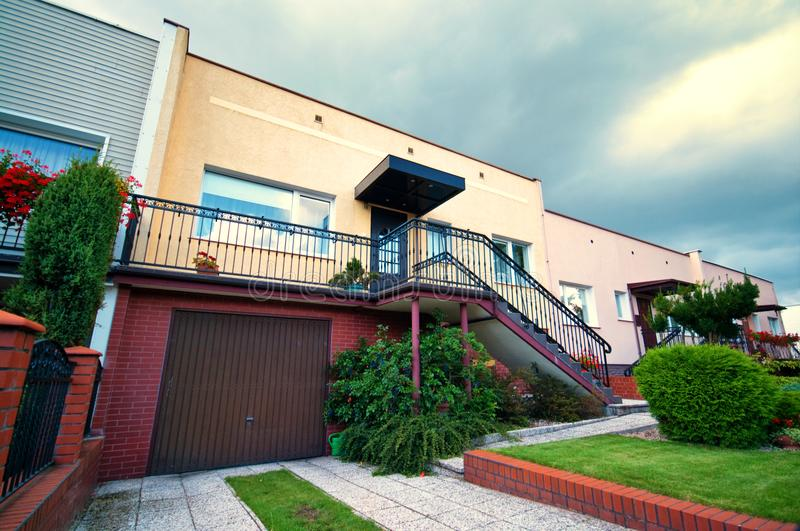 1980s style Polish architecture houses. Front view of a house with 1980s style architecture in Poland stock images