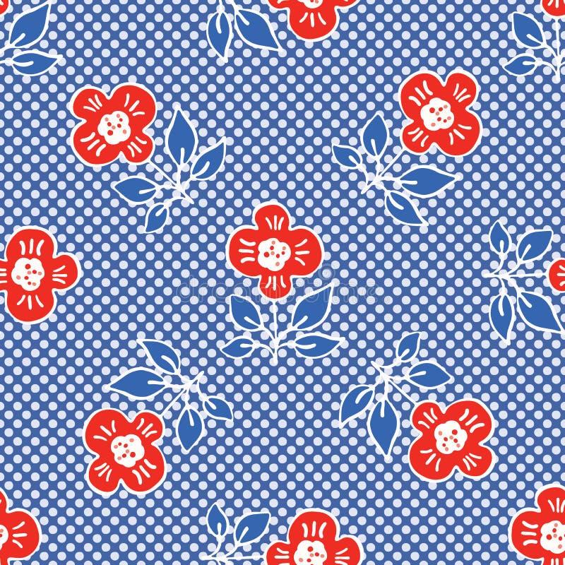 1950s Style Retro Daisy Polka Dot Seamless Vector Pattern. Folk Flower Hand Drawn Summer royalty free illustration