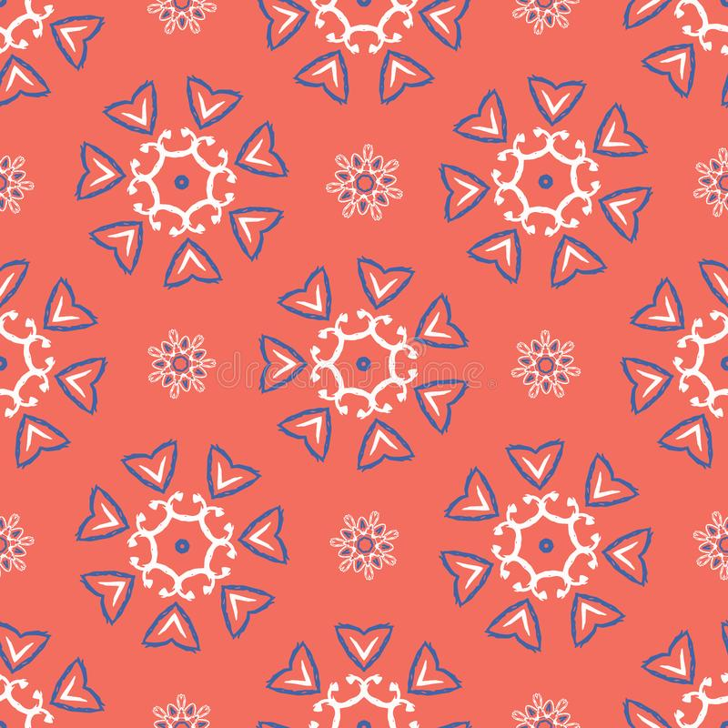 1950s Style Retro Floral Polka Dot Seamless Vector Pattern royalty free illustration