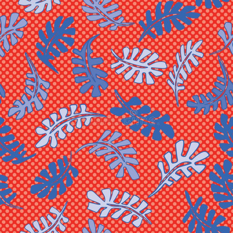 1950s Style Retro Tropical Leaves Seamless Vector Pattern. Jungle Foliage Hand Drawn royalty free illustration