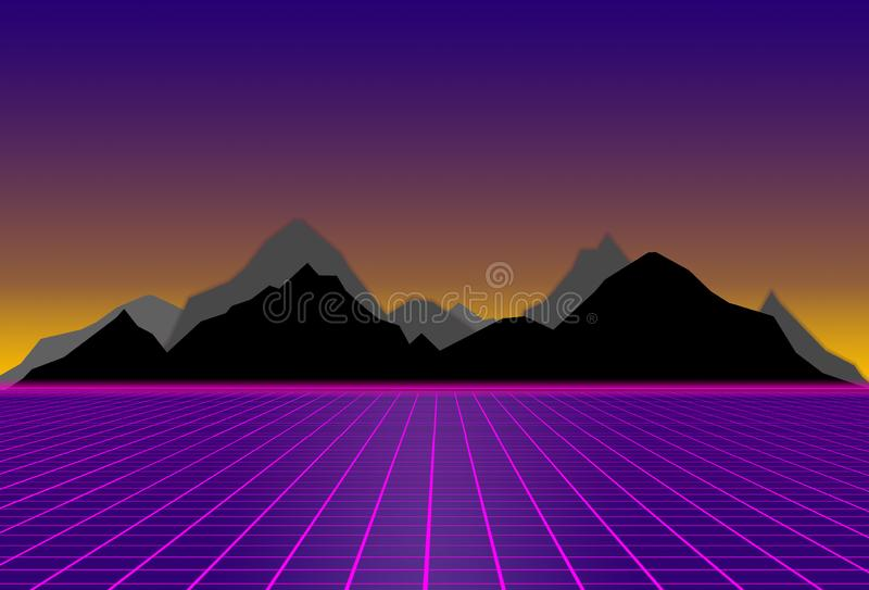 80s style sci-fi, purple background with with black and gray mountains. futuristic illustration or poster template. 80s style sci-fi, purple background with stock illustration