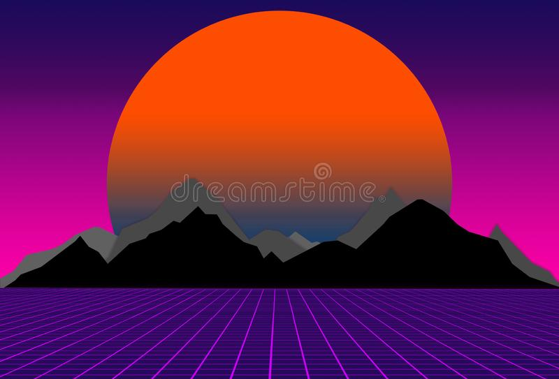 80s style sci-fi, purple background with sunset behind black and gray mountains. futuristic illustration or poster. 80s style sci-fi, purple background with stock illustration