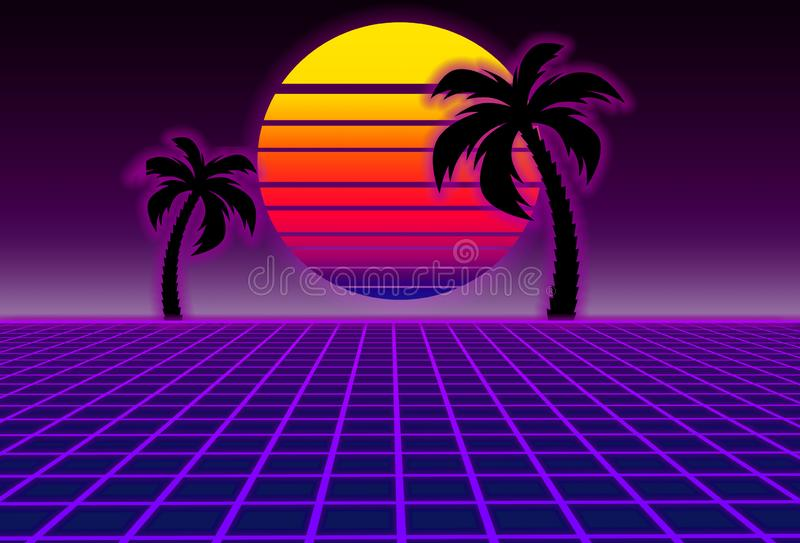 80s style sci-fi, purple background with sunset and palms. futuristic illustration or poster template. Synthwave banner. Suitable for any print design in retro vector illustration