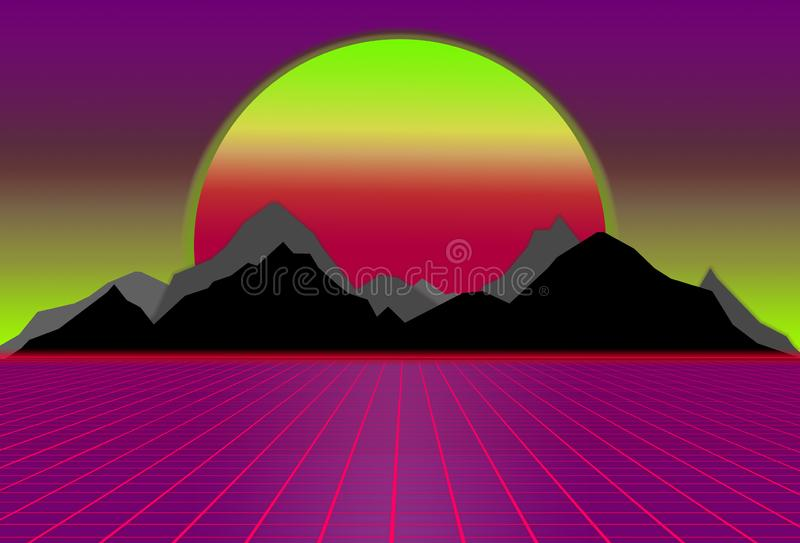 80s style sci-fi, purple and pink background with sunset behind black and gray mountains. futuristic illustration. Or poster template. Synthwave banner royalty free illustration