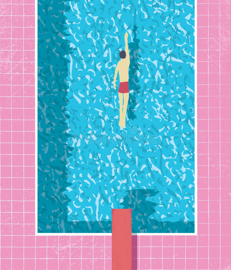 1980s style summer holiday poster with swimmer in swimming pool. Pink grunge worn tiles and water texture. Eps10 vector illustration royalty free illustration