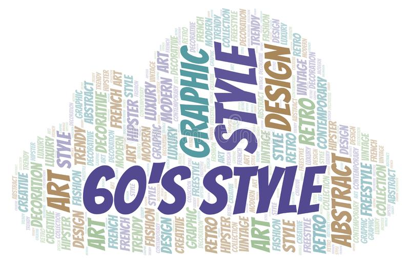 60\'s Style word cloud. Wordcloud made with text only vector illustration