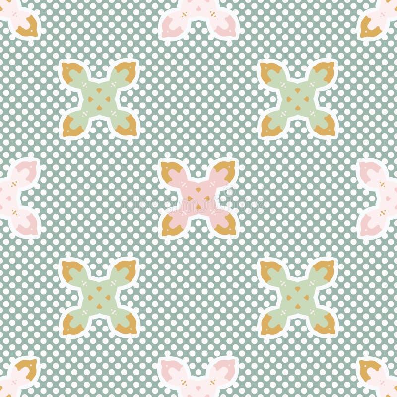 1950s stylu kwiatu polki kropki wektoru Bezszwowy wzór Ręka Rysująca Geometryczna Kwiecista tekstura royalty ilustracja