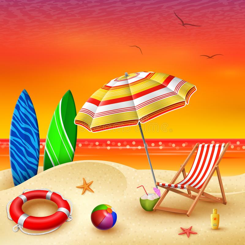It`s summer time banner with chair striped, umbrella, surfboard and lifebuoy on a sunset summer background royalty free illustration