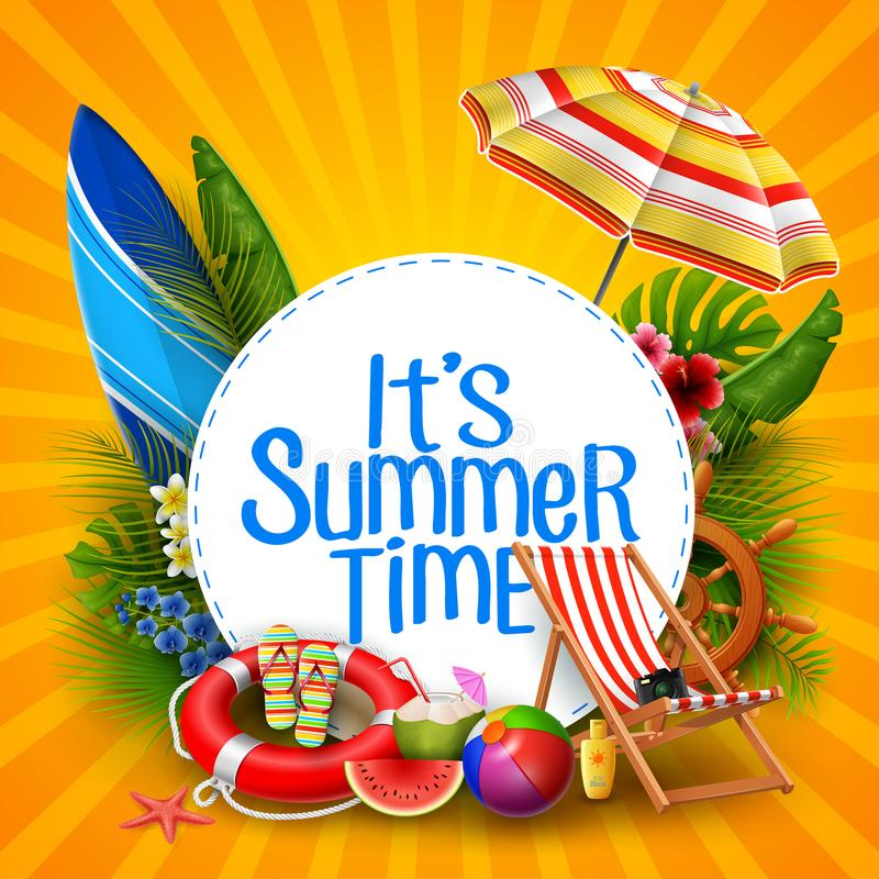 It`s summer time banner design with white circle for text and beach elements. Illustration of It`s summer time banner design with white circle for text and beach royalty free illustration