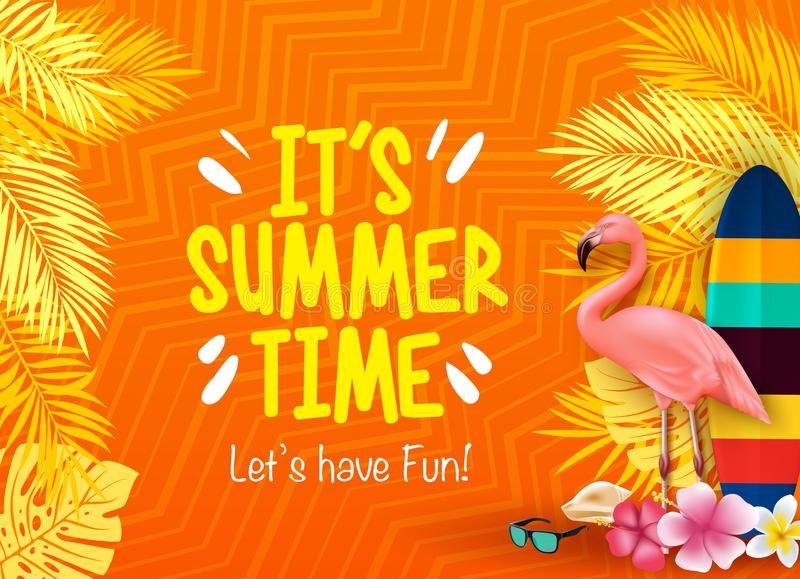 It`s Summer Time Let`s Have Fun with Flamingo, Surfboard, Flowers, Palm Leaves in Orange Background vector illustration