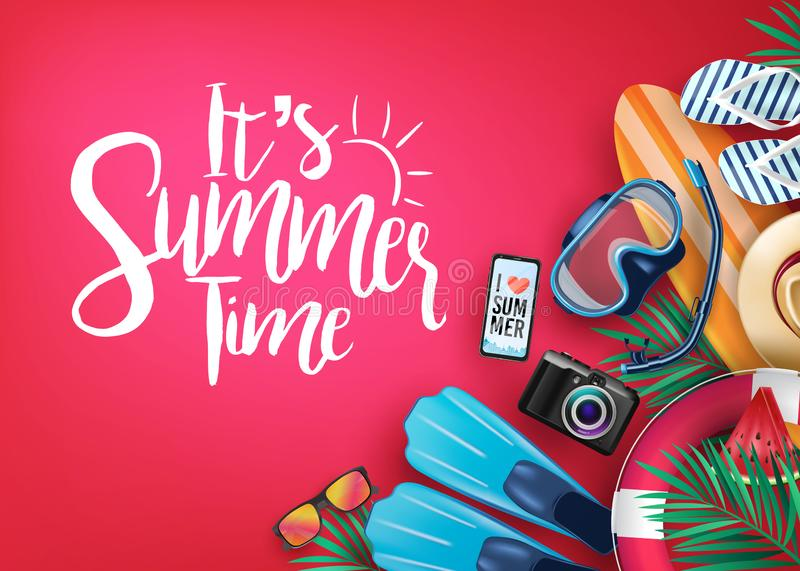 It`s Summer Time Realistic Vector Banner in Red Background and Tropical Elements stock illustration
