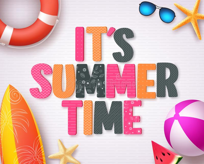 It`s summer time vector background design with colorful summer 3D text. And beach elements in white pattern background for summer season design template. Vector stock illustration