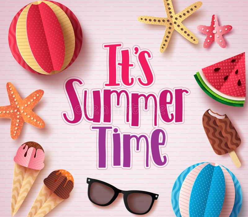 It`s summer time vector background design with colorful text royalty free illustration