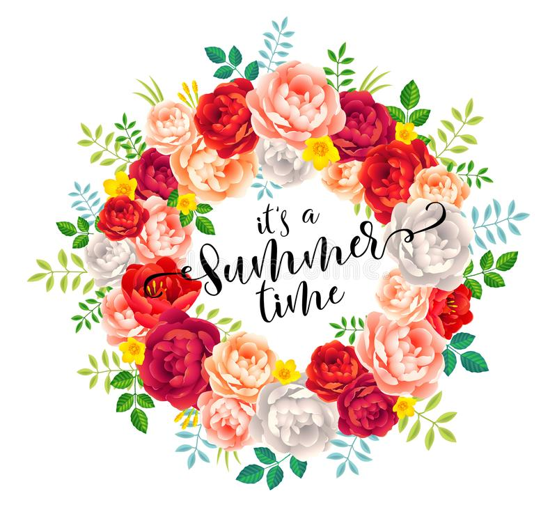 It`s a Summer time vector calligraphic lettering in bright summer flowers wreath on white background stock illustration