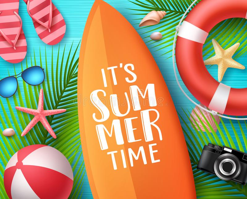 It`s summer time vector design concept. Summer text in surfboard with beach elements stock illustration