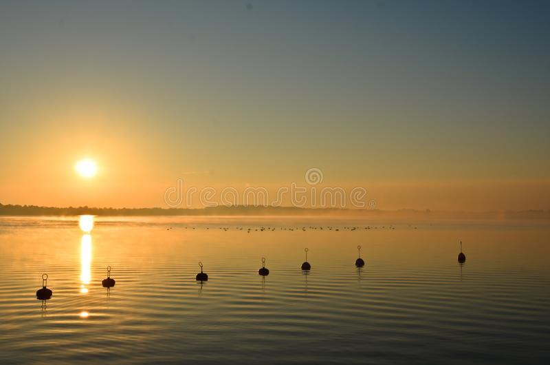 Some buoys in calm water in golden evening light. It`s a sunset at a lake in Poland a silhouette of buoys in front of golden light royalty free stock photography