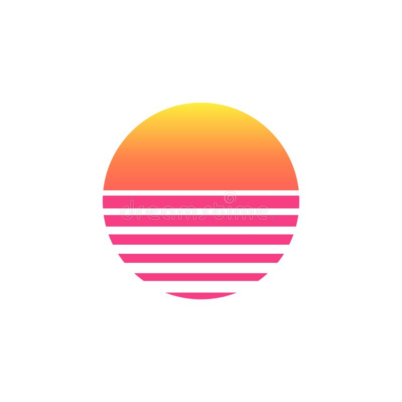 80s sunset retro neon background. 90s poster electro sun space vintage grid sunset icon vector illustration